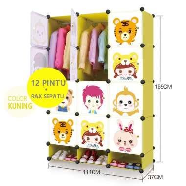 harga Lemari plastik rak serbaguna lemari pakaian rak baju anak rak sepatu kartun 12 pintu+RS hitam Blibli.com