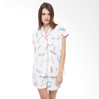 Madeleine's Feather Short Setelan Baju Tidur Wanita - White