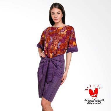 Lombang Batik Tenun Tali Ikat Dress Wanita - Coklat