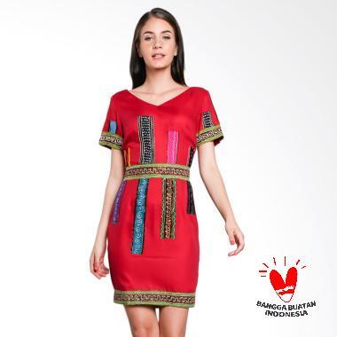 Lombang Batik Tempel Batik Dress - Merah