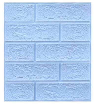 wallpaper dinding 3d foam motif batu bata Biru