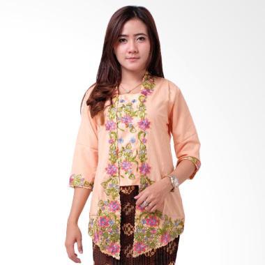 Batik Distro BA9114 Kebaya Wanita Kutu Baru Renda 3/4 - Orange