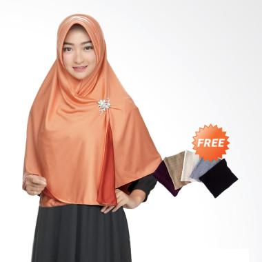 Zannah Hijab Syari Bolak Balik Jumbo Jilbab Instan - Orange Red