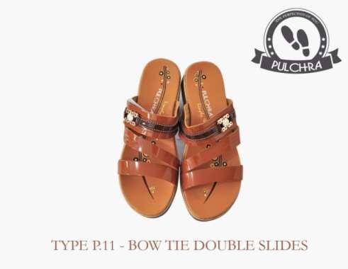 harga Unik Sandal Wanita Bow Tie Double Slide Type P.11 - Cokelat Tua 37 Berkualitas Blibli.com
