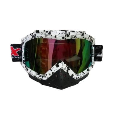JPX Cross Kaca Goggle Rainbow - White Gloss