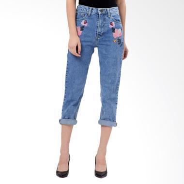 MKY Clothing Embroidery Boyfriend Jeans Celana Panjang Wanita