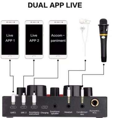 harga New Paket soundcard V8 Plus Mic Tripod dan Koper USB Audio External MULTICOLOUR Blibli.com
