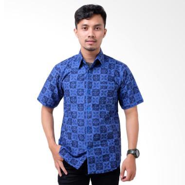 Batik Distro Junkis Lengan Pendek Kemeja Pria - Biru [K8137]