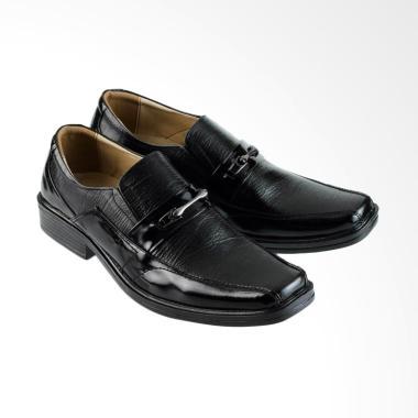 Golfer Formal Shoes Kulit Pantofel Sepatu Pria - Black [7704]