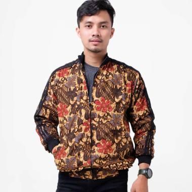 Batik Distro T1255 Daun Bledak Jaket Pria Batik - Coklat