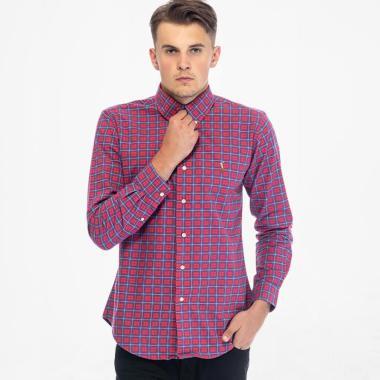 POLO RALPH LAUREN Shirt Custom Fit Baju Kasual Pria - Red Navy Check [PX2100008]