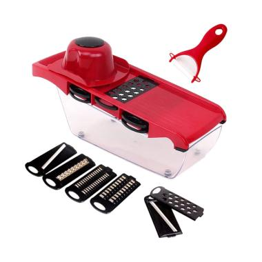 DTShop 7in1 New Mandoline Slicer Vegetable Cutter - 003 Red