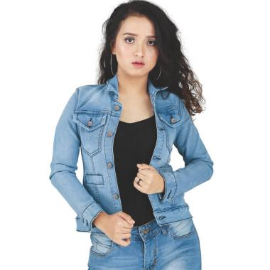 Catenzo BE092 Denim Jacket Jeans Wanita - Blue