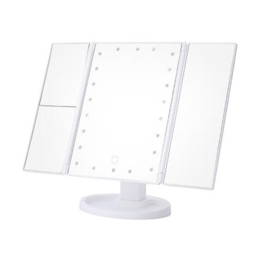 Jual Eds Folding Dimmable Table Countertop Led Lighted Cosmetic Makeup Mirror Travel Vanity Mirror With Lights Online Januari 2021 Blibli