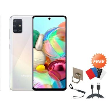 harga Samsung Galaxy A71 Smartphone [128GB/ 8GB] + Free I-ring/ Gurita/ Tongsis/ Cable Data silver Blibli.com