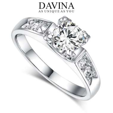 harga DAVINA Cincin Fashion Nicole Ring Lapis Emas Putih 18K White Gold Kristal Zirconia Silver DVR7052 7.5 Blibli.com