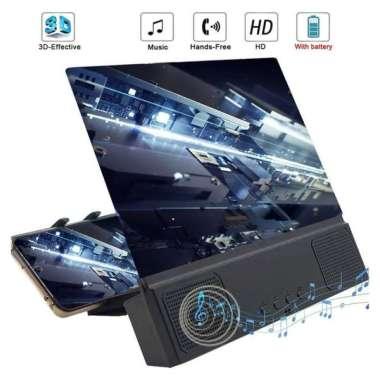 harga Universal 3D mobile phone screen magnifying glass 12 inch bluetooth stereo speaker HD video amplifier L2 mobile phone holder 002 BLACK_ Blibli.com