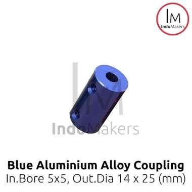 harga Super Murah! Blue Aluminum Alloy Coupling Coupler Bore 5mm dan 5mm D14 L25 5x5mm Biru Blibli.com