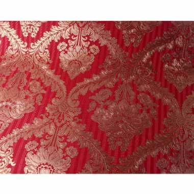 Java Wallpaper D-0049 Batik Vinyl Dekorasi Dinding - Merah Gold
