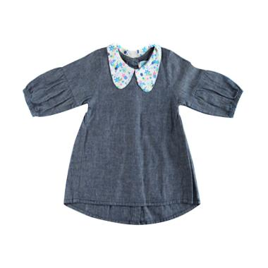 S Square Kids Denim Dress - Blue Denim