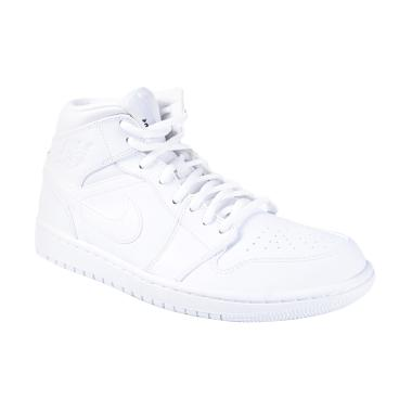 separation shoes 06245 e05ce Nike Air Jordan 1 Mid Putih Sepatu Basket 554724-110