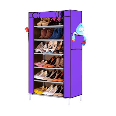 Nine Box Rak Sepatu - Ungu [7 Cover/6 Tingkat]