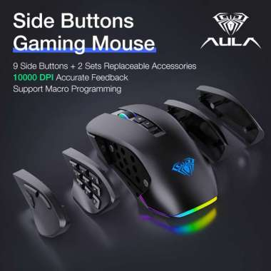 harga Mouse Gaming Slide Button AULA H-510 Magnetic mouse - 2 Sets Accessories - Racing Light Design, - 10.000DPI - Macro System - 14 Buttons - 6 Gear DPI hitam Blibli.com