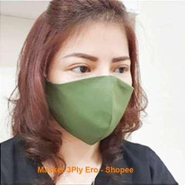 harga Masker Kain 3 lapis ply tali karet lingkar Telinga ear loop Bisa Dicuci standar WHO aksesoris motor Hijau Blibli.com