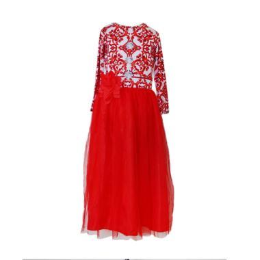 GBS JW Gamis Red Flower Batik Set Hijab