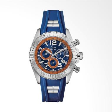 GC Guess Collection Rubber Jam Tangan Pria - Blue Silver Y02010G7