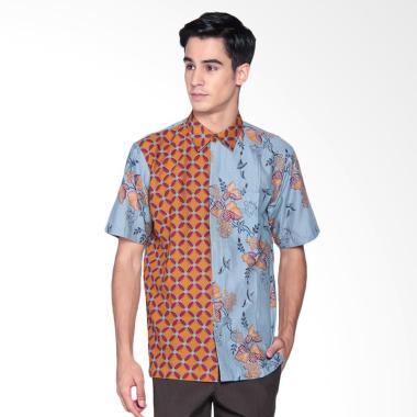 Danar Hadi Print Motif Lung Kukilo  ...  Batik Pendek Pria - Blue