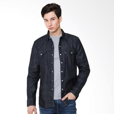 Levi's Barstow Western Shirt Kemeja ...  Denim Black [65816-0005]