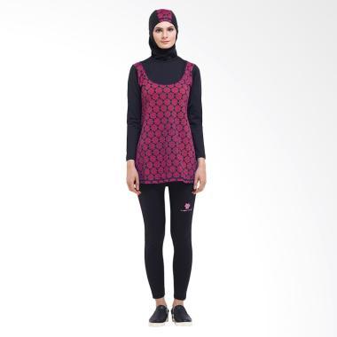 Tiento Swimwear Hijab Baju Renang Muslimah Wanita - Black Pink