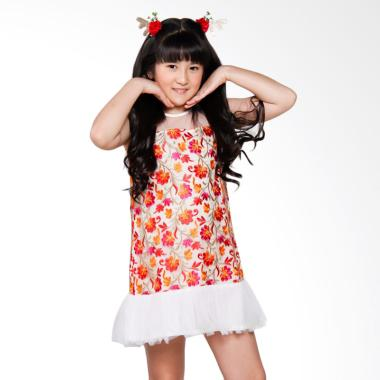 Coterie Embroidered Flower with Tulle Dress Anak - White