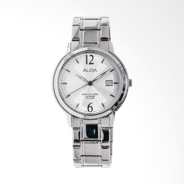 Alba Patterned Dial Stainless Steel ... Pria - Silver [AS9A57X1]