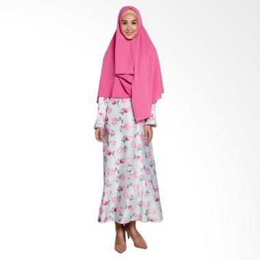 Erin Collection Motif Bunga Gamis w ... aju Muslim Wanita - Putih