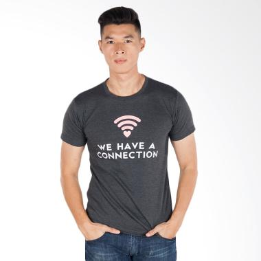 Trending Graphic Print Connection T-Shirt Pria - Abu-Abu