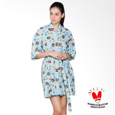 DASTERLAND Corak Kecil Sticker Line Daster Kimono Wanita - Biru Tosca