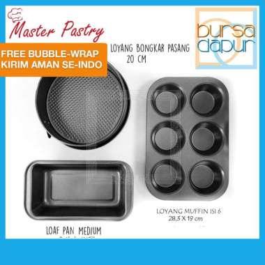 Master Pastry Loyang Kue Set VALUE SET 3 PCS Muffin Pan 6 Cup / Loaf Pan Medium / Spring Form 20 cm Grey