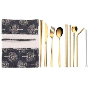 harga Promo Tofok Cutlery Set Perlengkapan Makan Sendok Garpu Army Cloth Bag - T1 - GOLD Murah Blibli.com