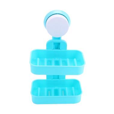 harga Yangunik 2 Susun Double Layer Soap Box Rak Sabun dan Shampoo - Biru Blibli.com