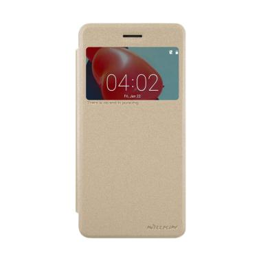 Nillkin Sparkle Leather Flip Cover Casing for Nokia 6 - Gold