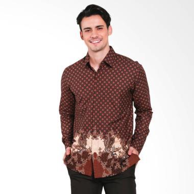 Batik Heritage Duo Peacok Slim Fit Kemeja Batik Pria - Cokelat