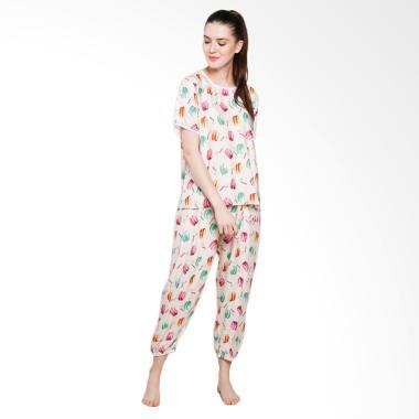 Jo & Nic Macaroon Pajama Setelan Piyama Wanita - Cream
