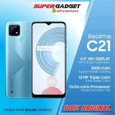 harga HP Realme C21 3/32 4/64 GB Smartphone 4G Android 10 Mediatek RAM 3 4 ROM 32 64 Fingerprint 5000 mAh Cross Blue 3/32GB Blibli.com