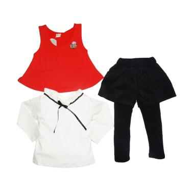 VERINA BABY Atasan Plus Vest red And Pants 3in1 Setelan Baju Anak