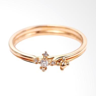 Tiaria Slipknot Ring Perhiasan Cincin Tunangan Emas dan Berlian [18K]