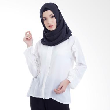 Hanalila Daily Hijab Frillo Tops Blouse Muslim - White