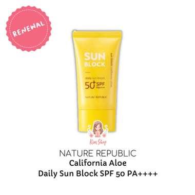 harga KIM SHOP - NATURE REPUBLIC California Aloe Daily Moisture Sun Block SPF 50 57ml / Sun Block Tabir Surya Blibli.com