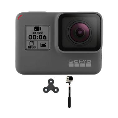 GoPro Hero 6 Tongsis Monopod Spin Action Camera - Black